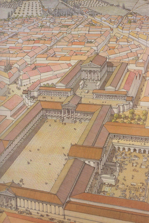 Los tres primeros, Nerón, Domiciano y Decio. Foro de Arlès (Francia).