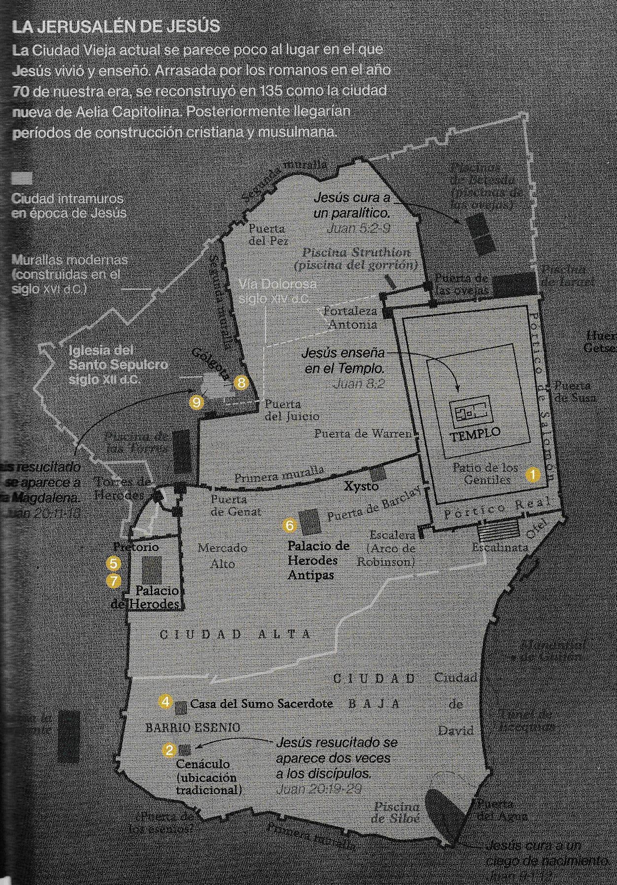 ¿Dónde estaba el Gólgota? Plano de Jerusalén de National Geographhic, Diciembre 2.017.