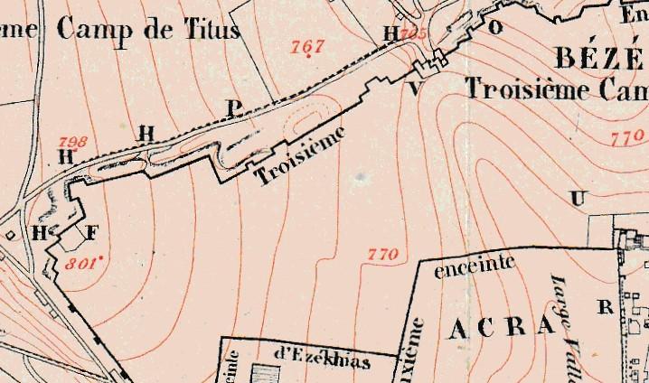 ¿Dónde estaba el Gólgota? Zoom sobre la zona del Santio Sepulcro de Jerusalén. Plano de 1.863.