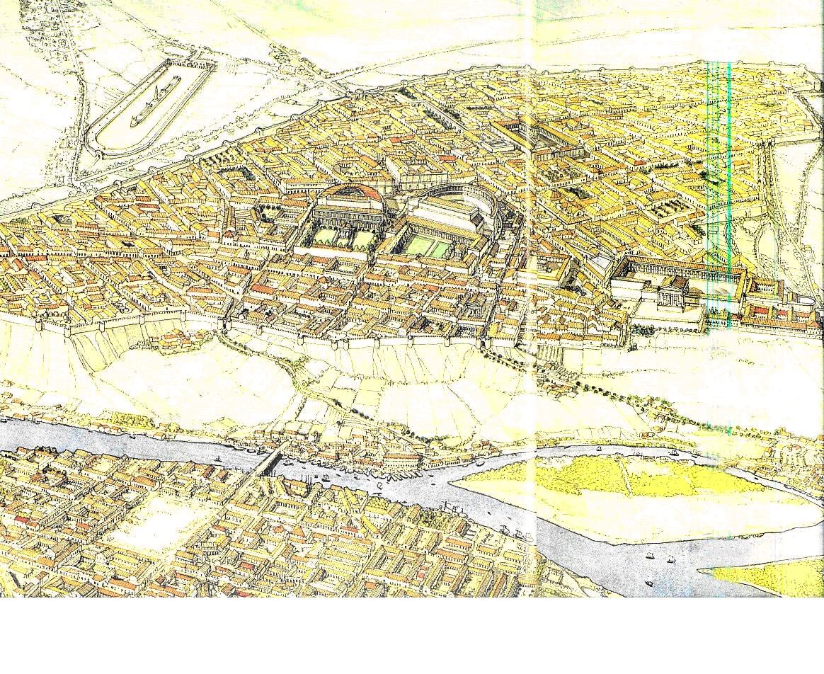 Suburbios en ciudades de la Antigüedad. Lyon romana (Francia).