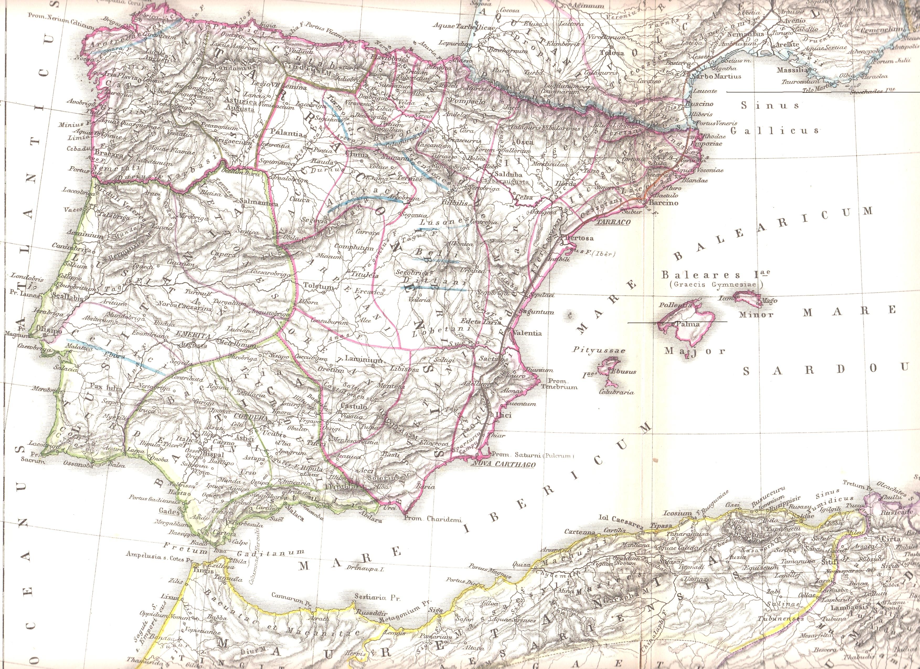 Hispania romana de Kiepert 1890
