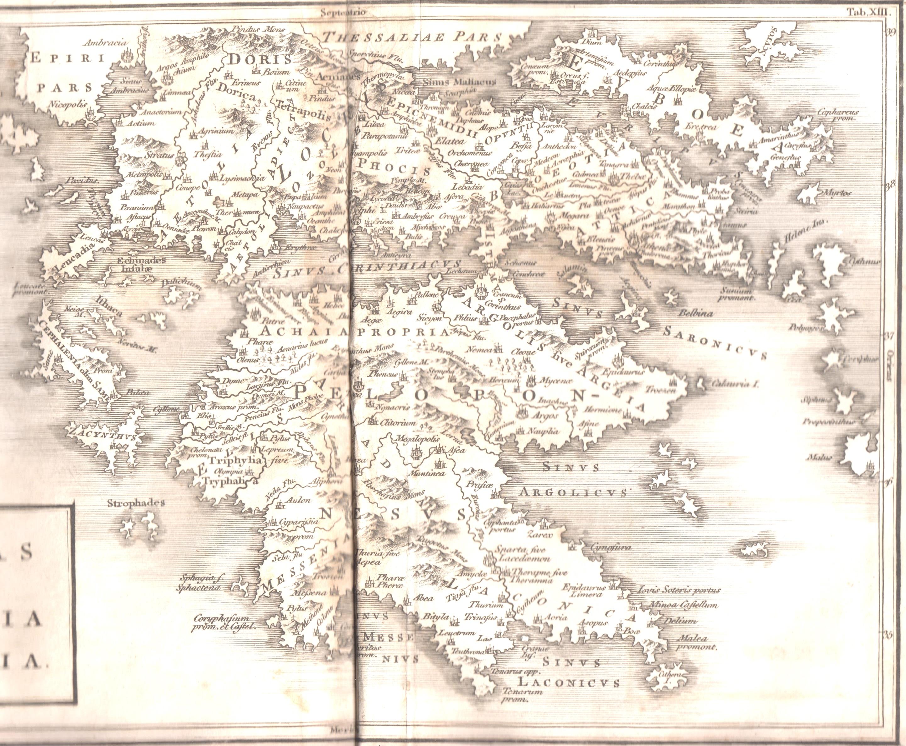 Los mapas de Cellarius de 1819 Grecia