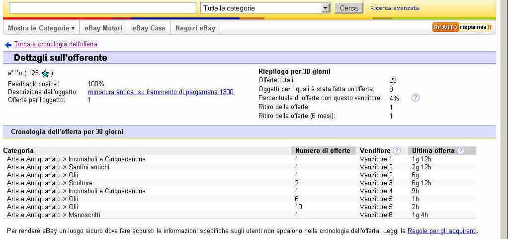 Comprando en ebay 2 Subastas y lista de precios