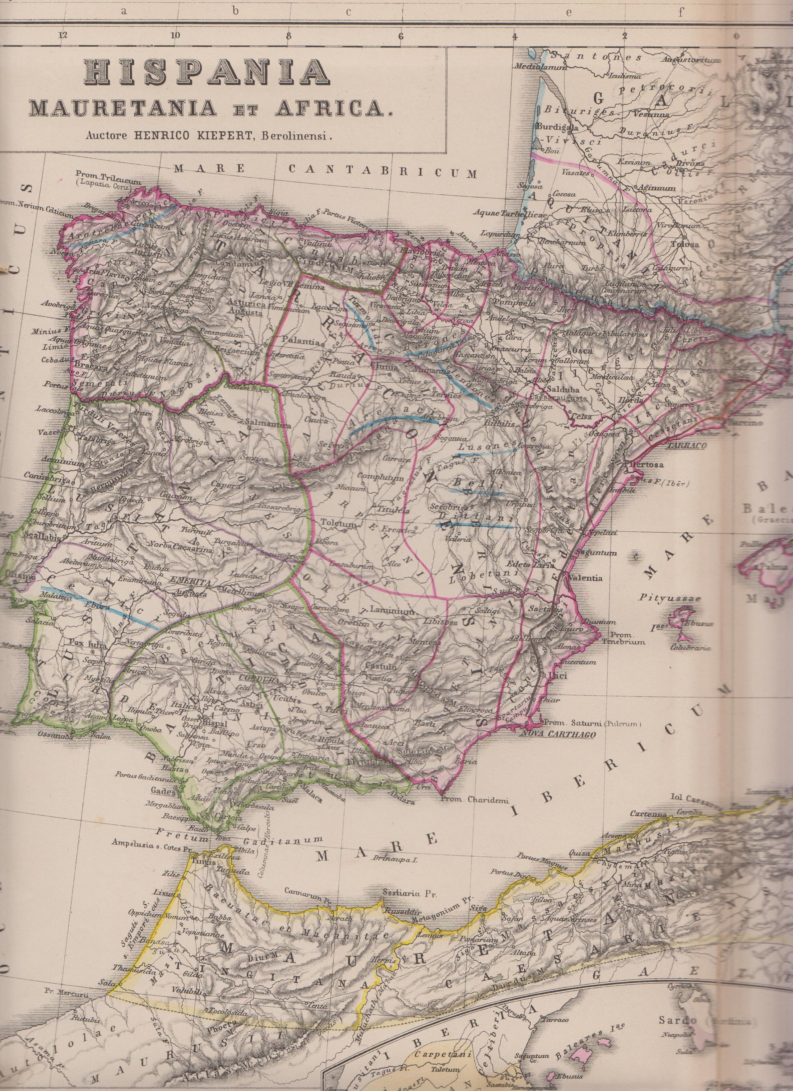 Hispania romana según ATLAS de Henry Kiepert 1890