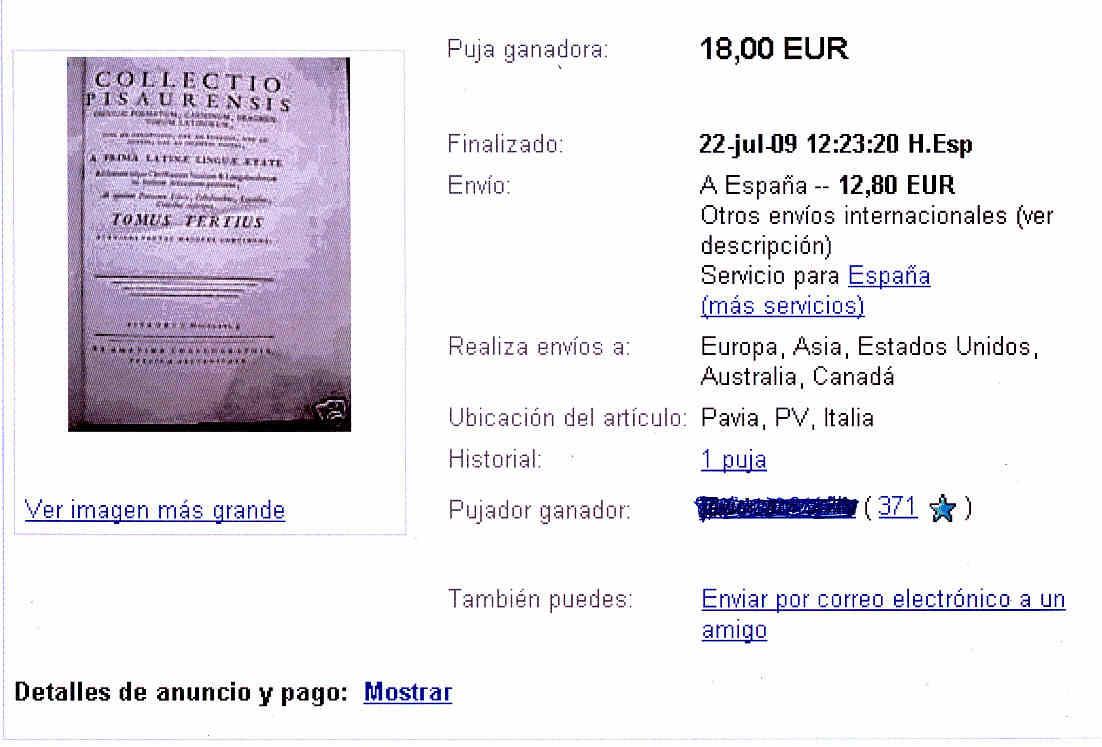 Comprando en ebay 12 y Encuadernación