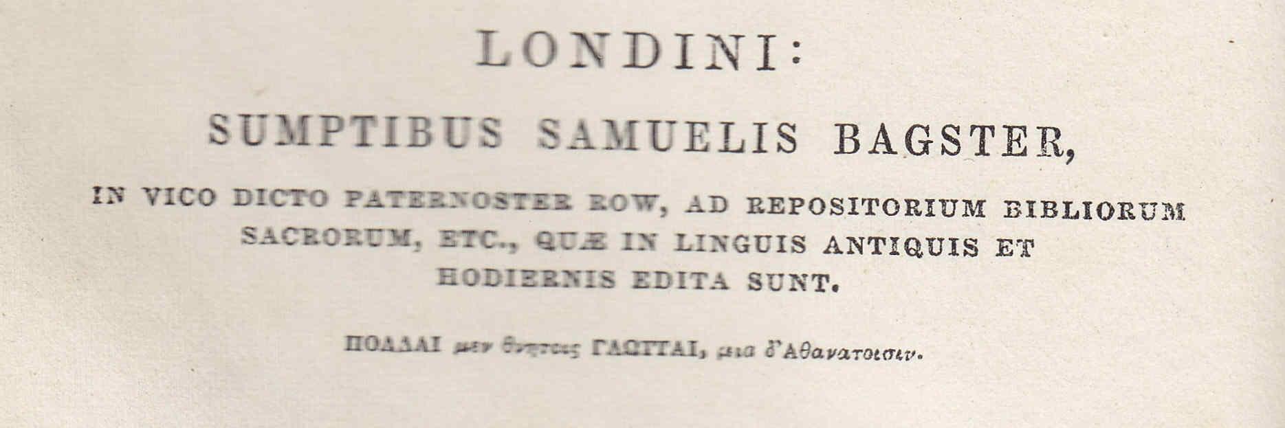 La Septuaginta y Paternoster Row